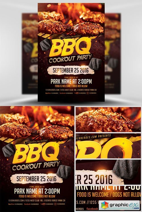 BBQ Cookout Party Flyer Template » Free Download Vector Stock ...