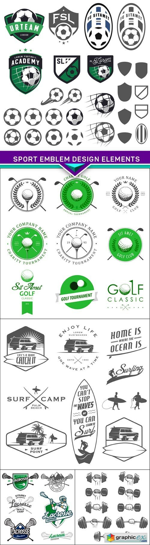 Sport emblem design elements 5X EPS