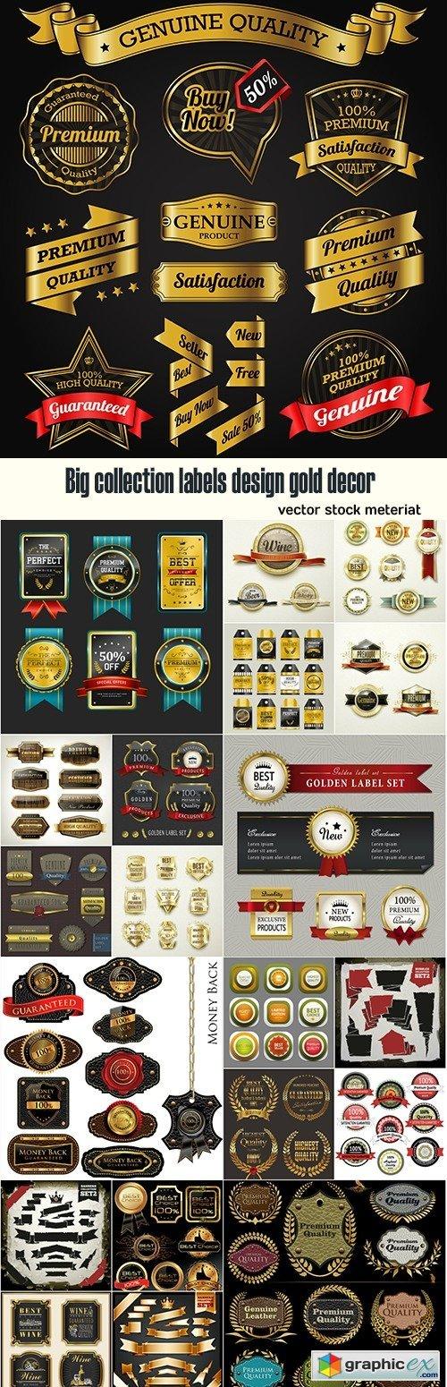 Big collection labels design gold decor