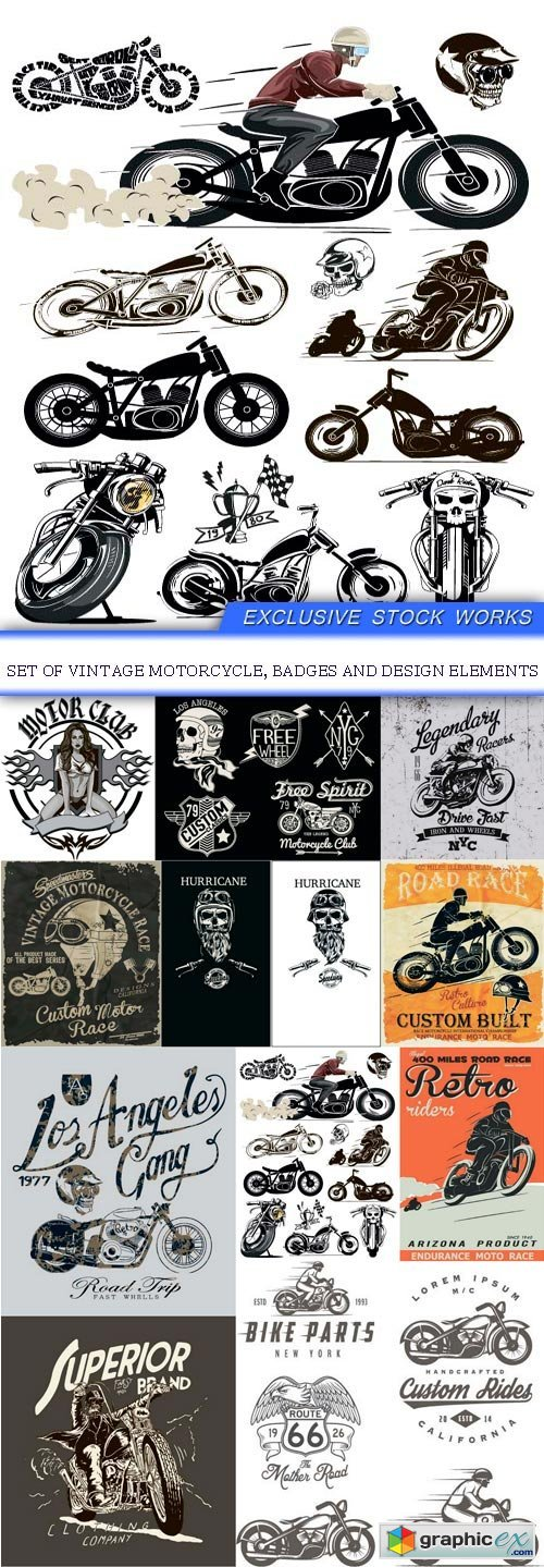 Set of vintage motorcycle, badges and design elements 11x eps