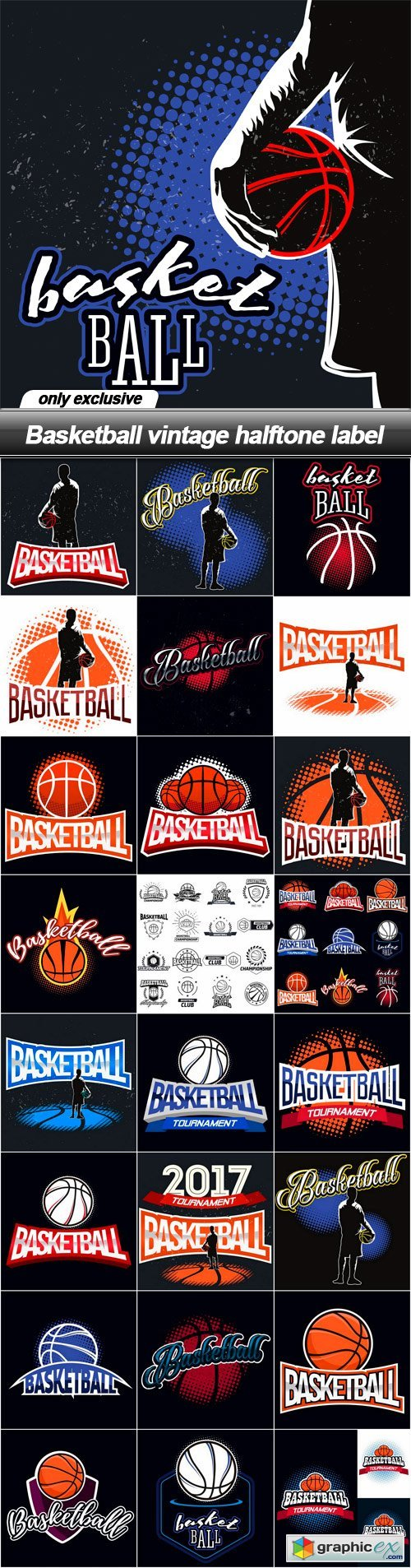 Basketball vintage halftone label - 25 EPS