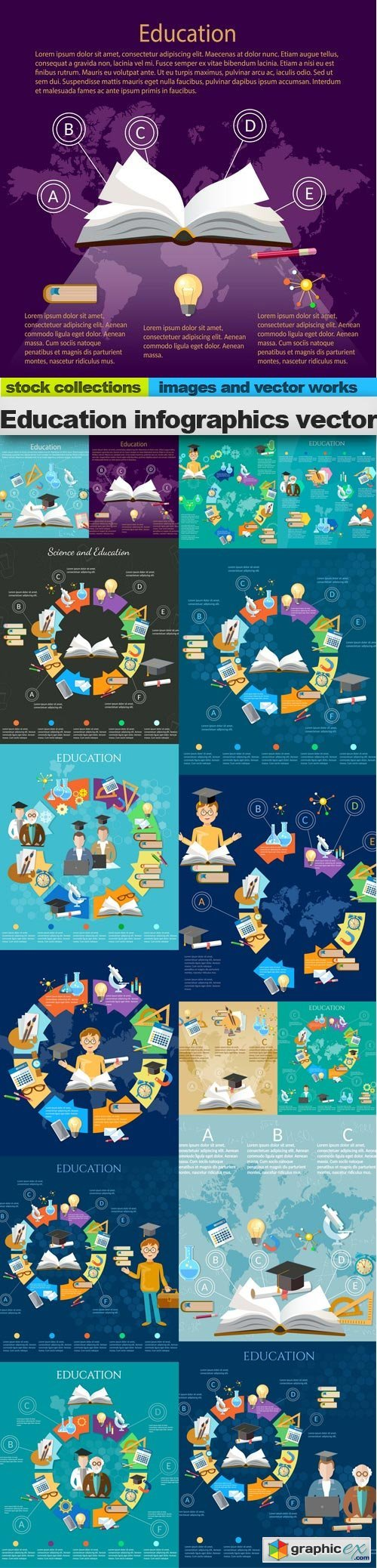 Education infographics vector, 15 x EPS
