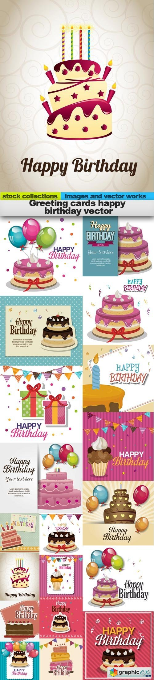 Greeting cards happy birthday vector, 19 x EPS