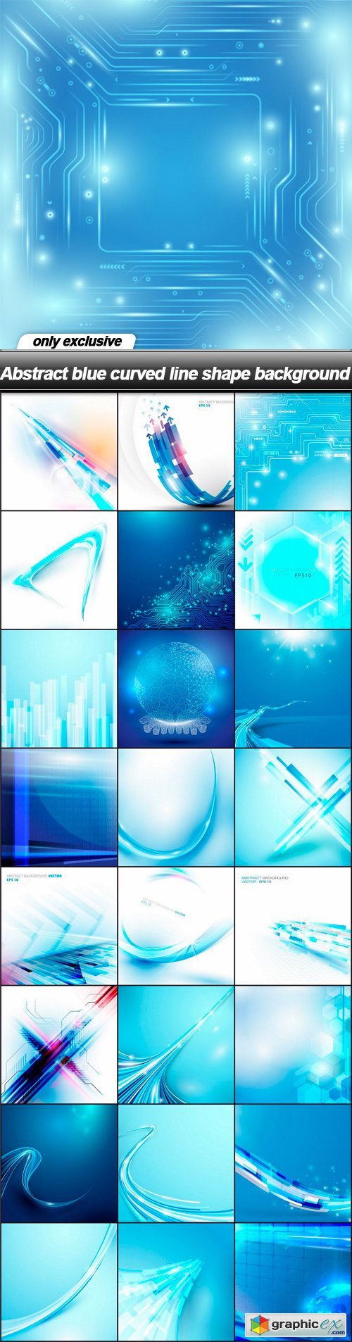 Abstract blue curved line shape background - 25 EPS