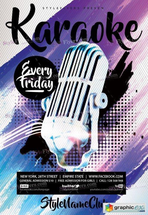 Karaoke PSD Flyer Template + Facebook Cover » Free Download