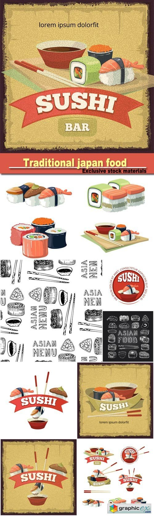 vintage poster with emblem of sushi banners, traditional japan food