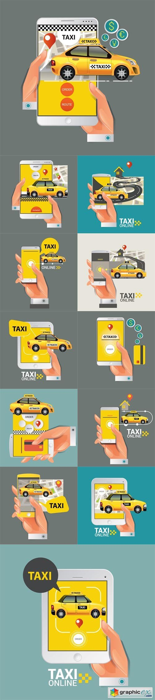 Taxi on line. Taxi sign. Taxi service on smart phone