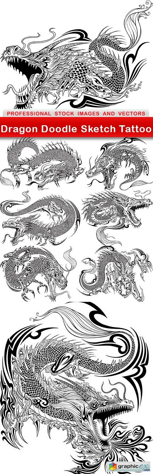 Dragon Doodle Sketch Tattoo - 8 EPS