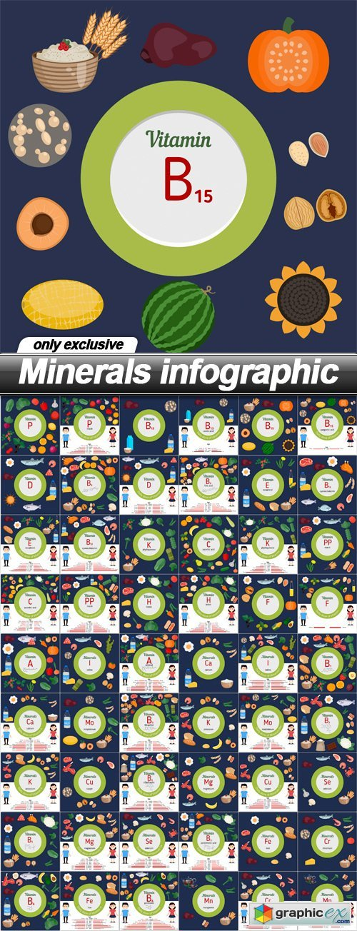 Minerals infographic - 54 EPS