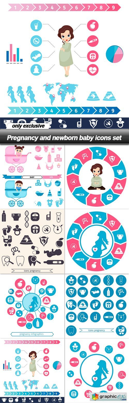 Pregnancy and newborn baby icons set - 8 EPS