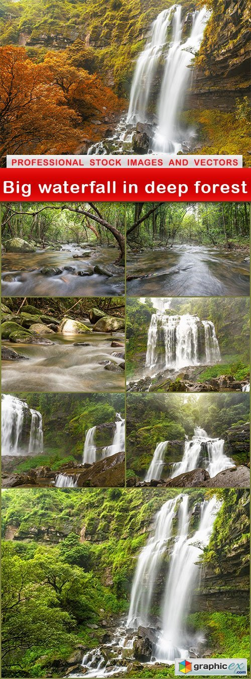 Big waterfall in deep forest - 8 UHQ JPEG