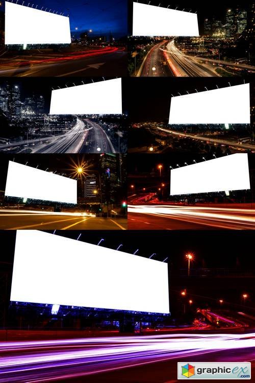 Billboard Blank for Outdoor Advertising Poster at Night