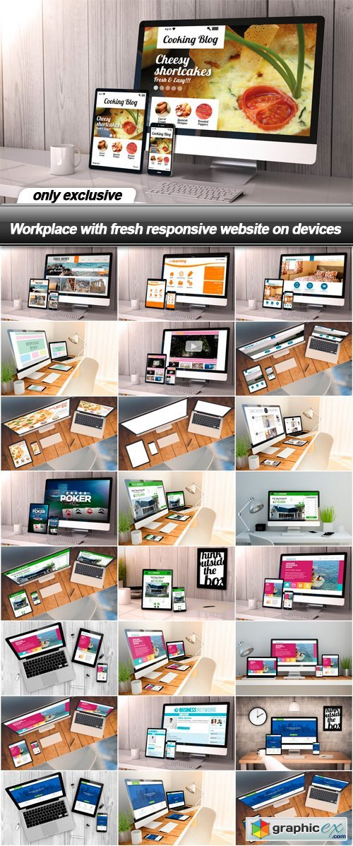 Workplace with fresh responsive website on devices - 25 UHQ JPEG