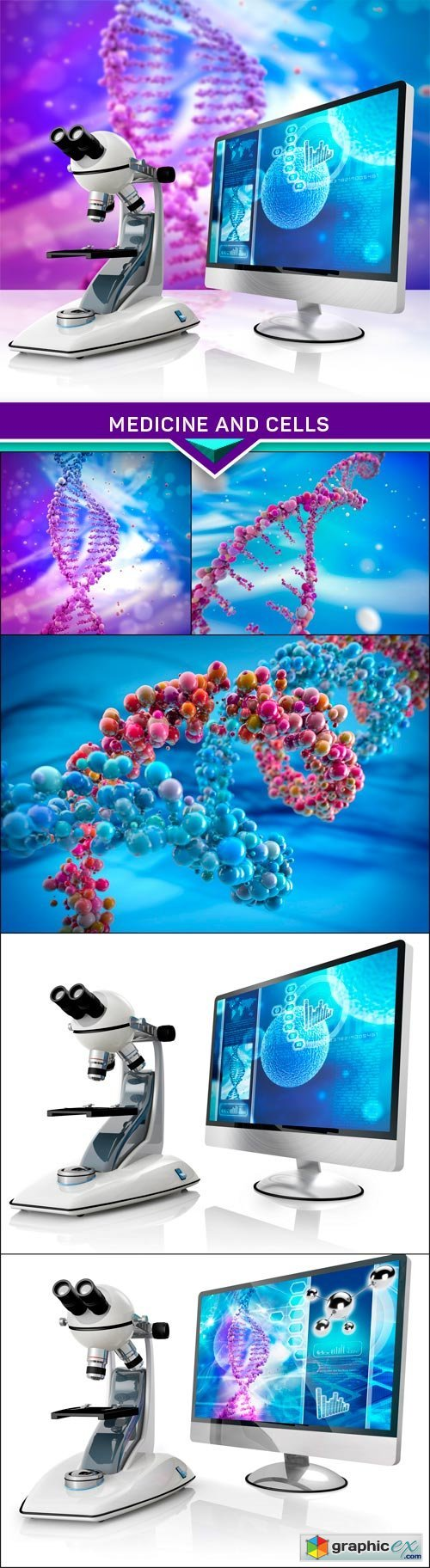 Medicine and cells in an abstract scientific background #2 6X JPEG