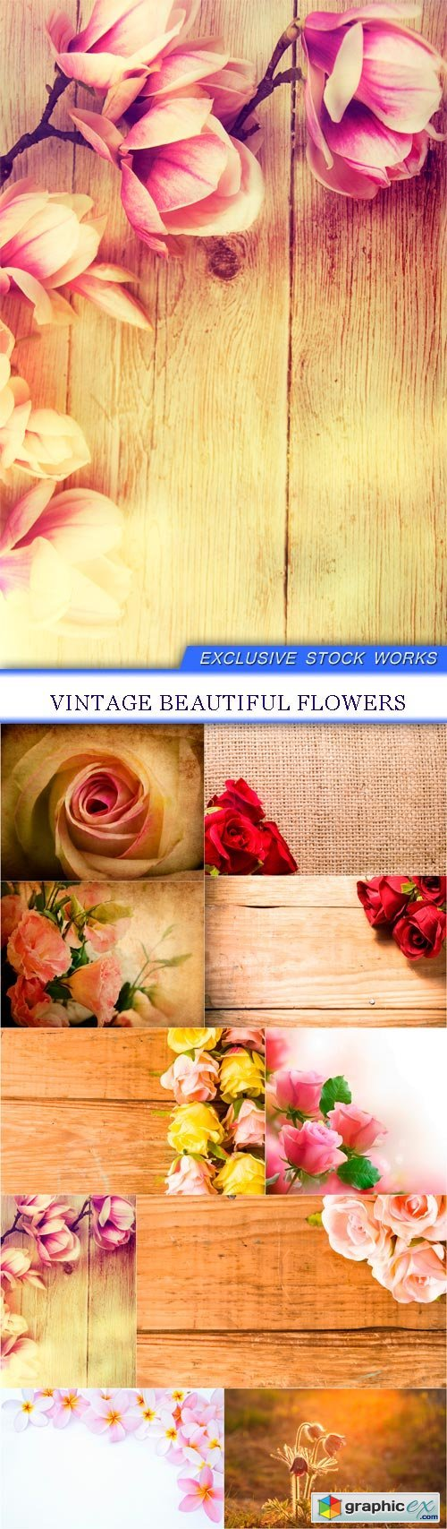 Vintage beautiful flowers 10x JPEG