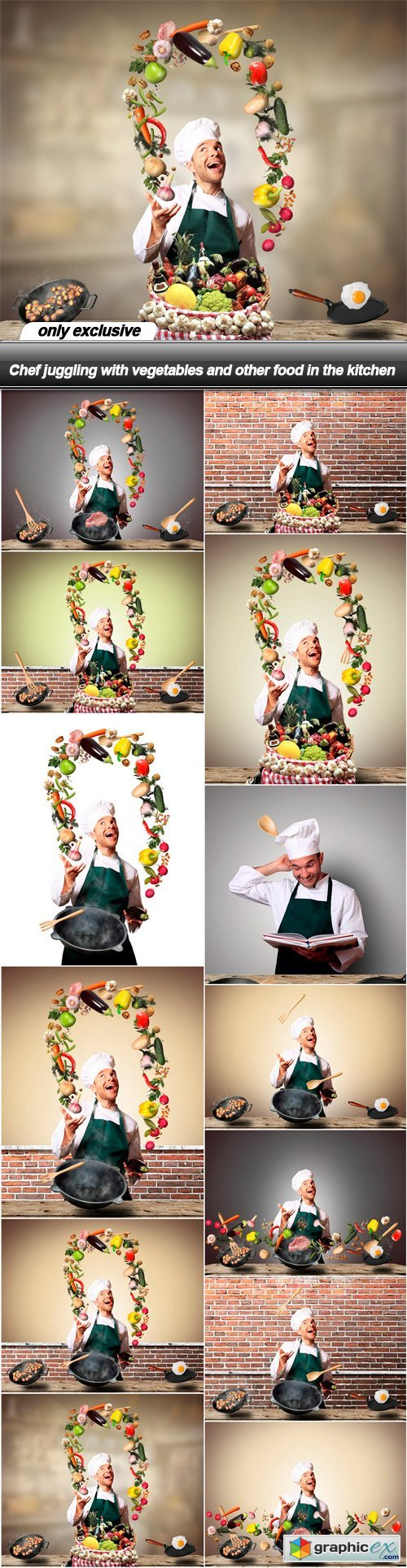 Chef juggling with vegetables and other food in the kitchen - 13 UHQ JPEG