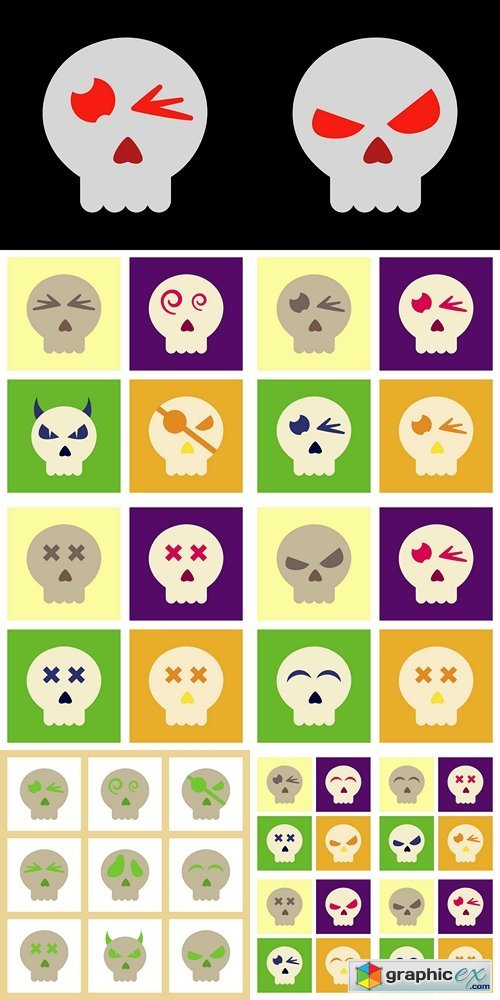 Flat icon on background halloween emotion skull
