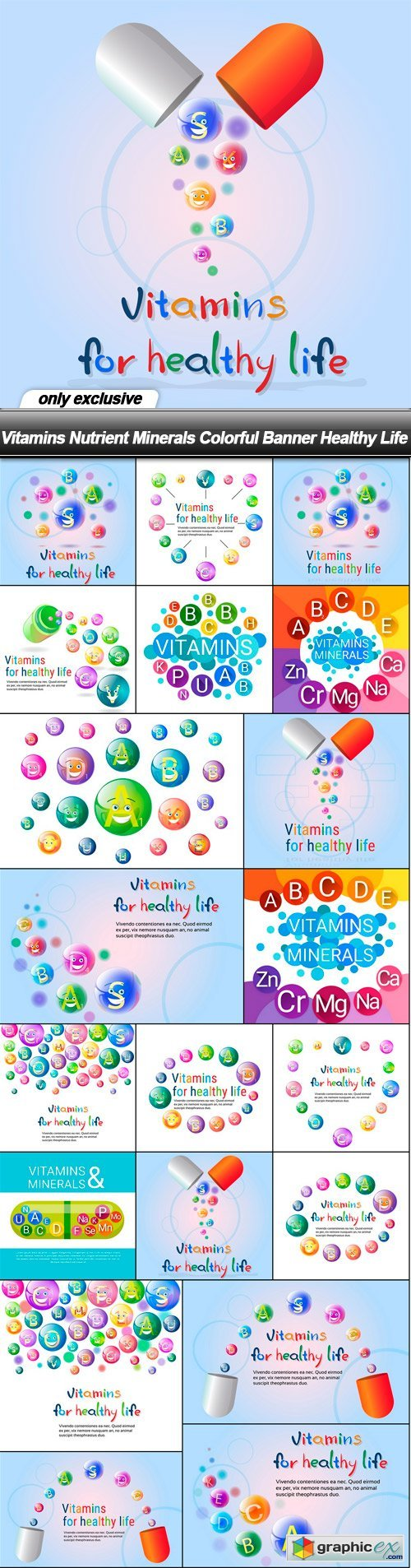 Vitamins Nutrient Minerals Colorful Banner Healthy Life - 20 EPS