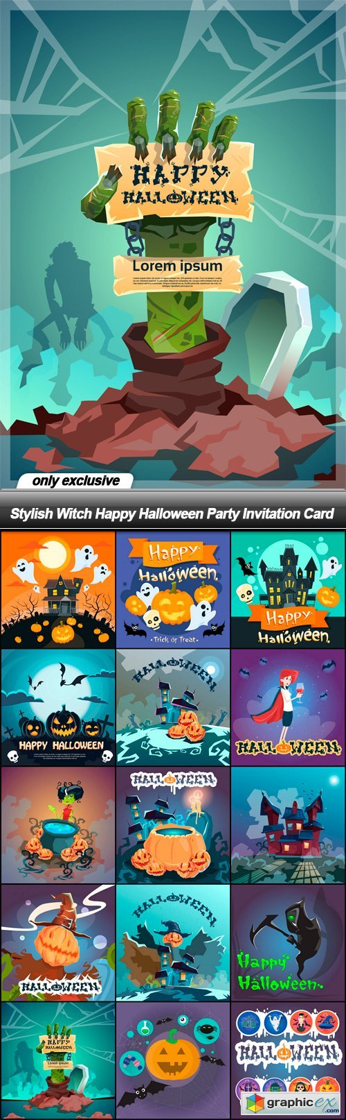 Stylish Witch Happy Halloween Party Invitation Card - 45 EPS