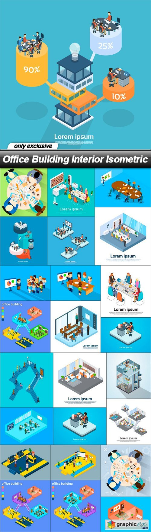 Office Building Interior Isometric - 25 EPS