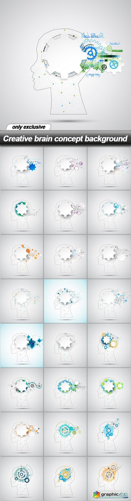 Creative brain concept background - 25 EPS