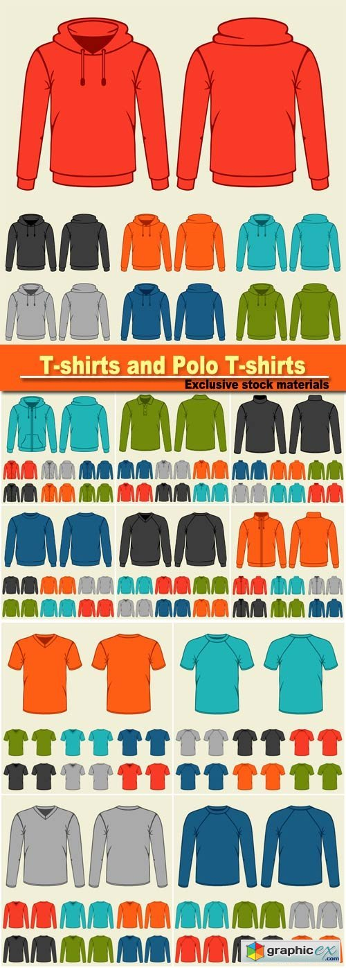 Set of colored t-shirts and polo t-shirts templates for men