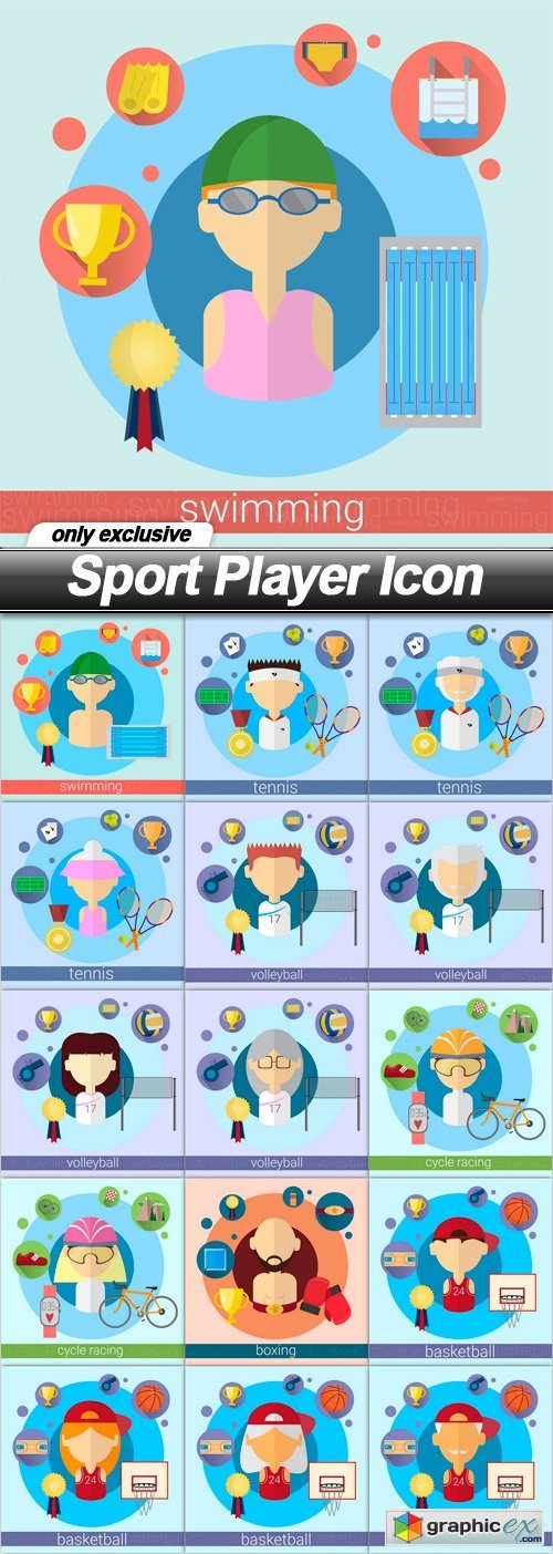 Sport Player Icon - 16 EPS