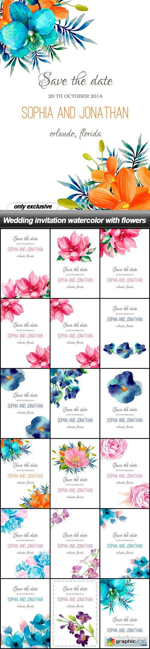 Wedding invitation watercolor with flowers - 18 EPS