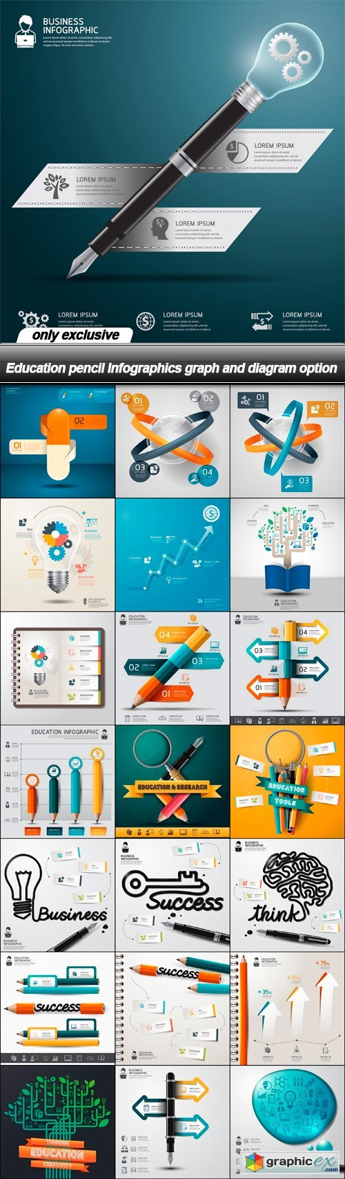 Education pencil Infographics graph and diagram option - 22 EPS
