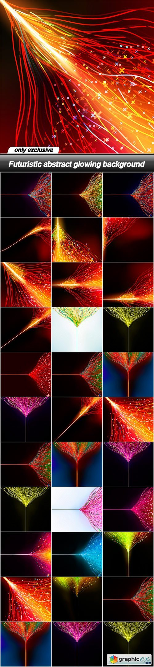 Futuristic abstract glowing background - 33 EPS » Free Download
