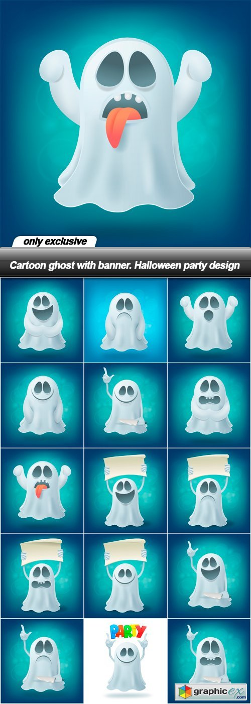 Cartoon ghost with banner. Halloween party design - 15 EPS