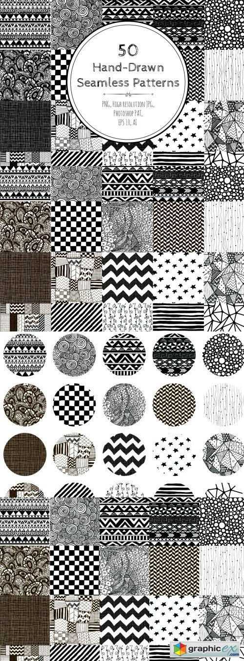 50 Black And White Hand-Drawn Seamless Patterns