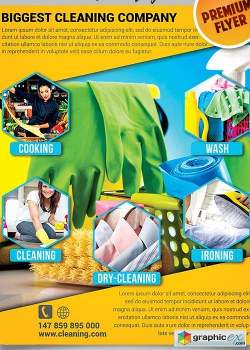 House Cleaning Flyer PSD V5 Template + Facebook Cover