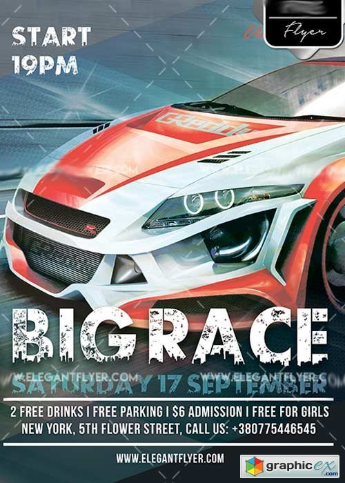 Big Race Flyer PSD V4 Template + Facebook Cover
