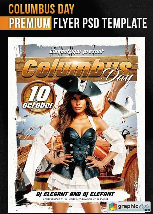 Columbus Day Flyer PSD V8 Template + Facebook Cover