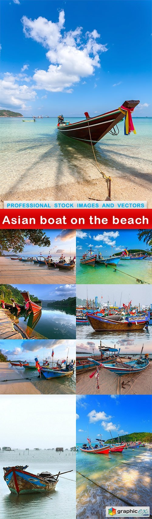 Asian boat on the beach - 9 UHQ JPEG