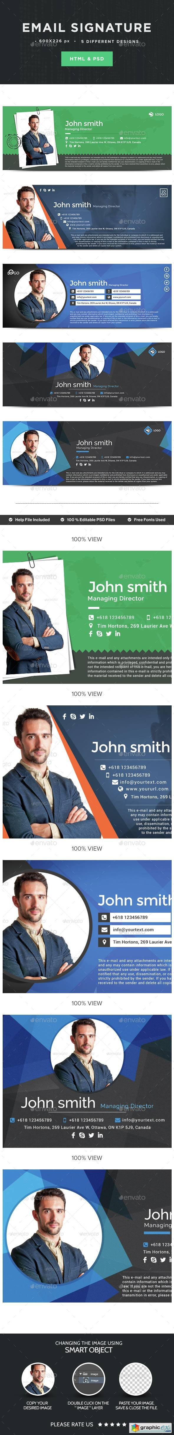 Email Signature - 5 Designs - HTML Files Included