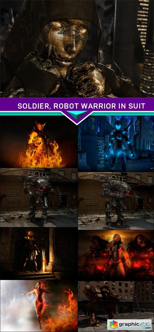 Soldier, robot warrior in suit 9X JPEG