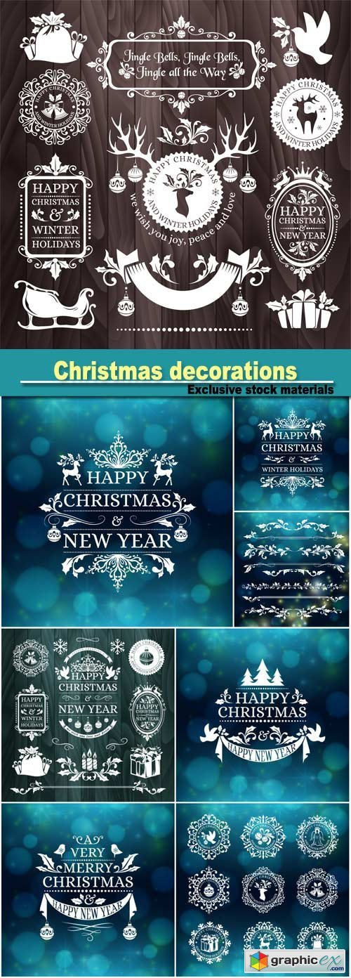 Christmas decorations, snowflake badges, holiday frames