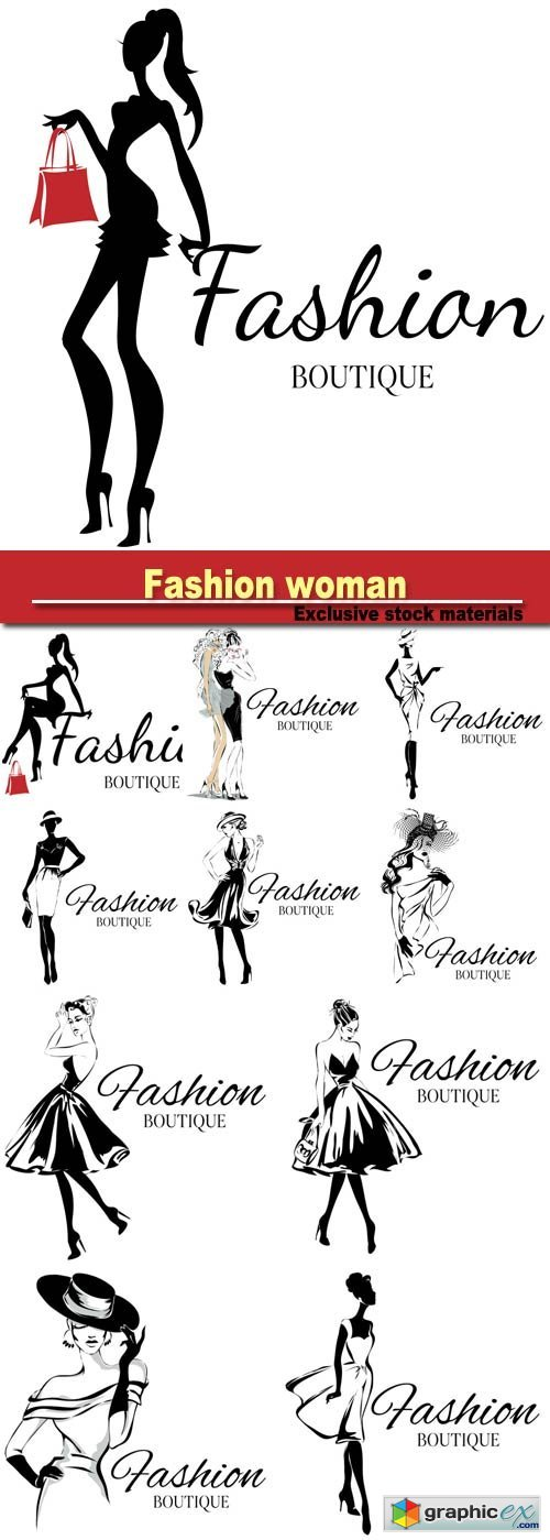 Fashion woman, hand drawn vector illustration