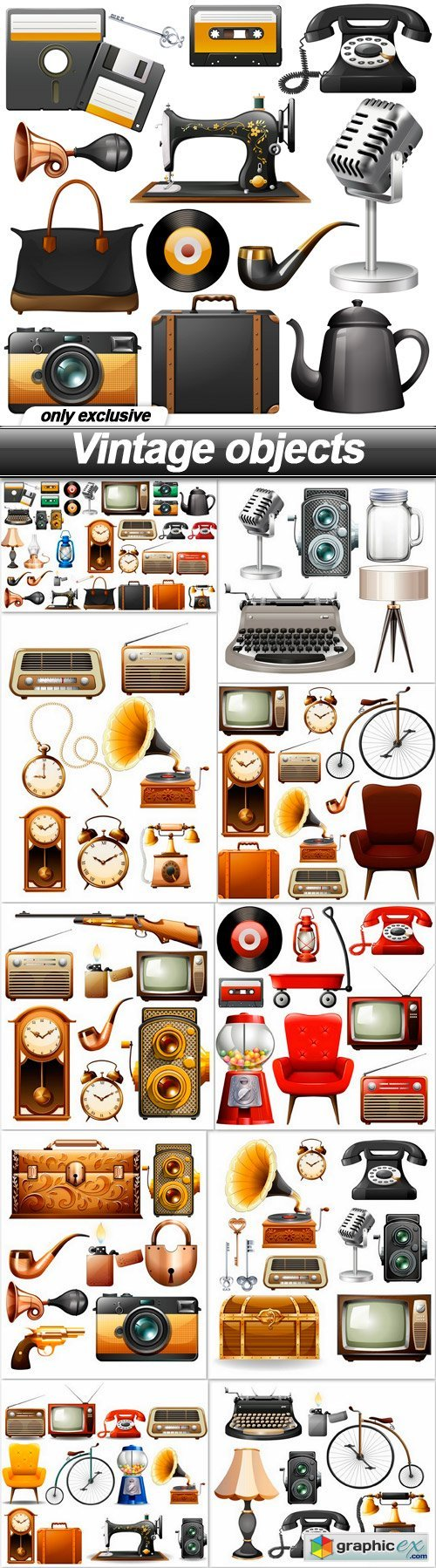 Vintage objects - 11 EPS