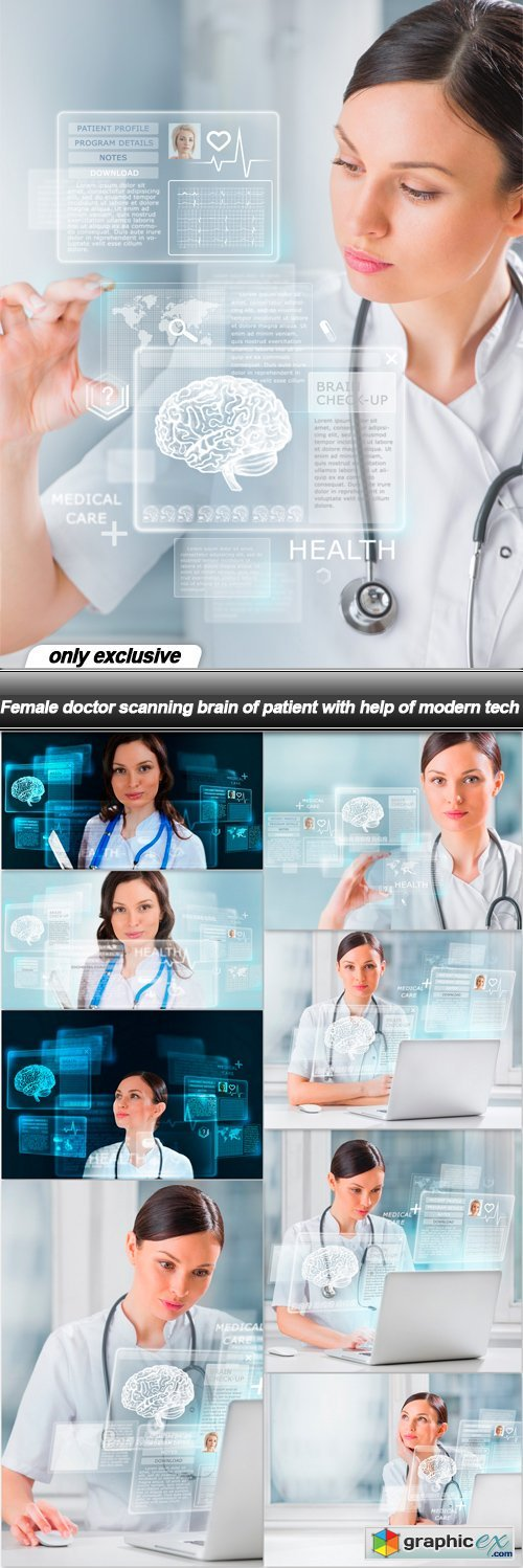 Female doctor scanning brain of patient with help of modern tech - 9 UHQ JPEG