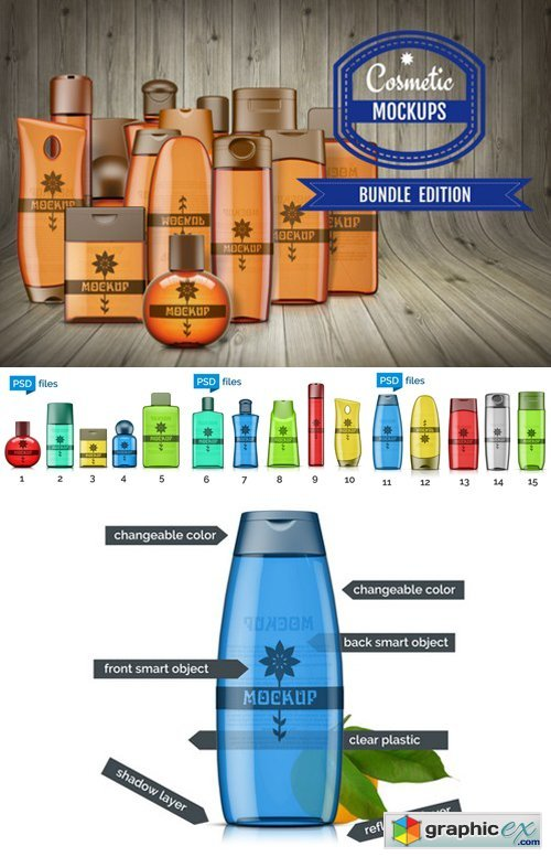 Cosmetic Bottle Mockups Bundle