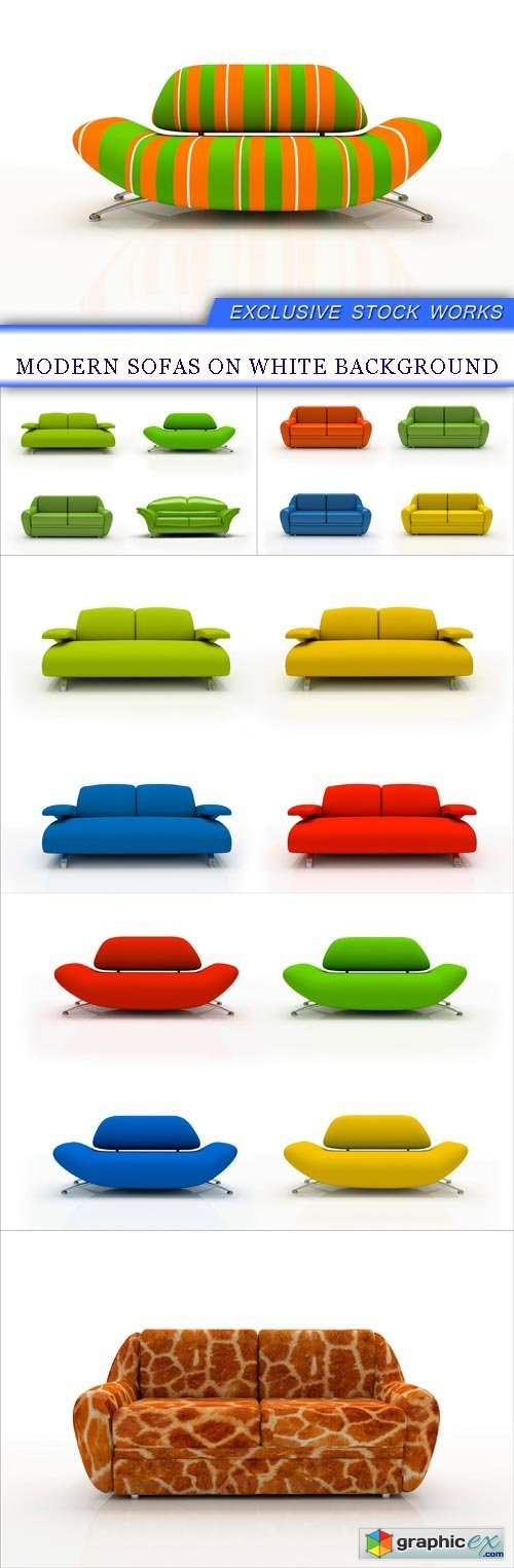 Modern sofas on white background 6x JPEG