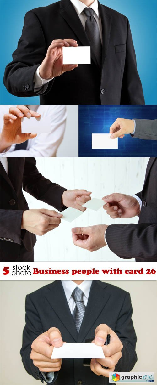 Business people with card 26