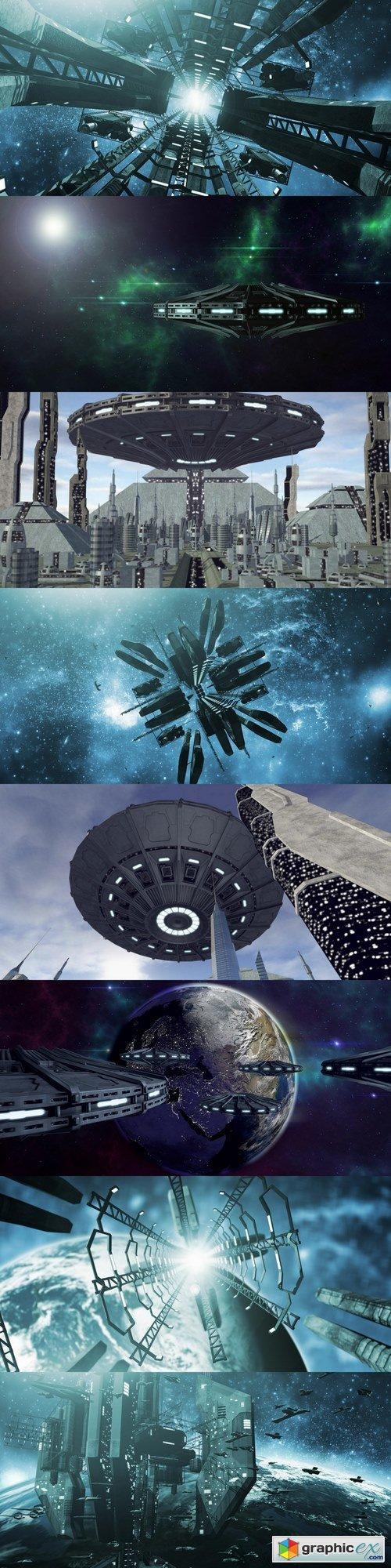 UFO flying above futuristic pyramid city