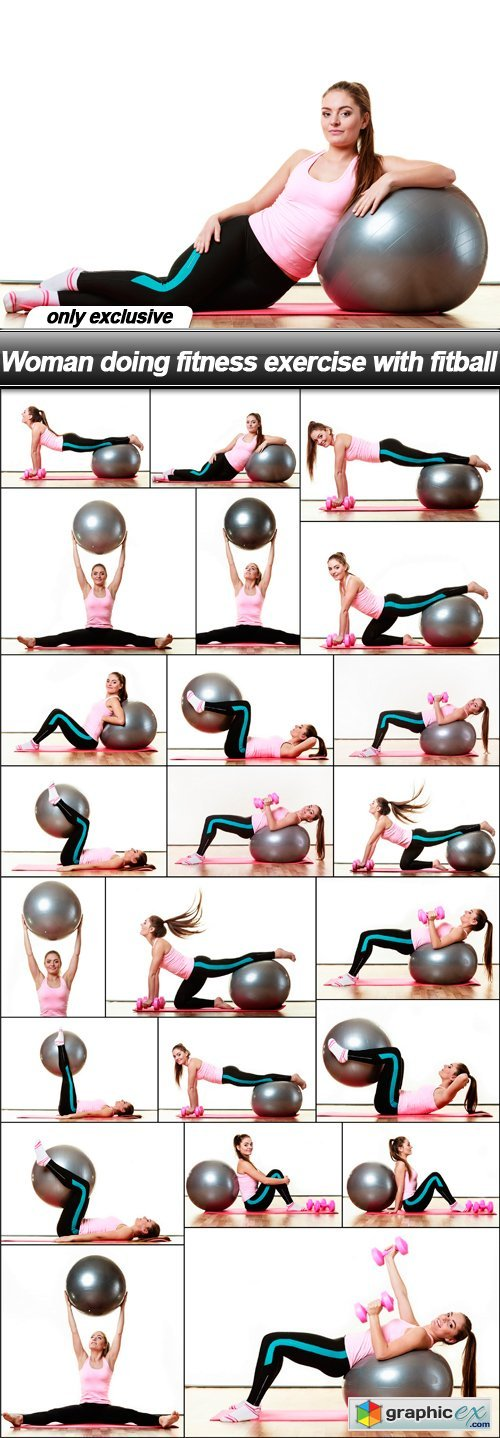 Woman doing fitness exercise with fitball - 23 UHQ JPEG