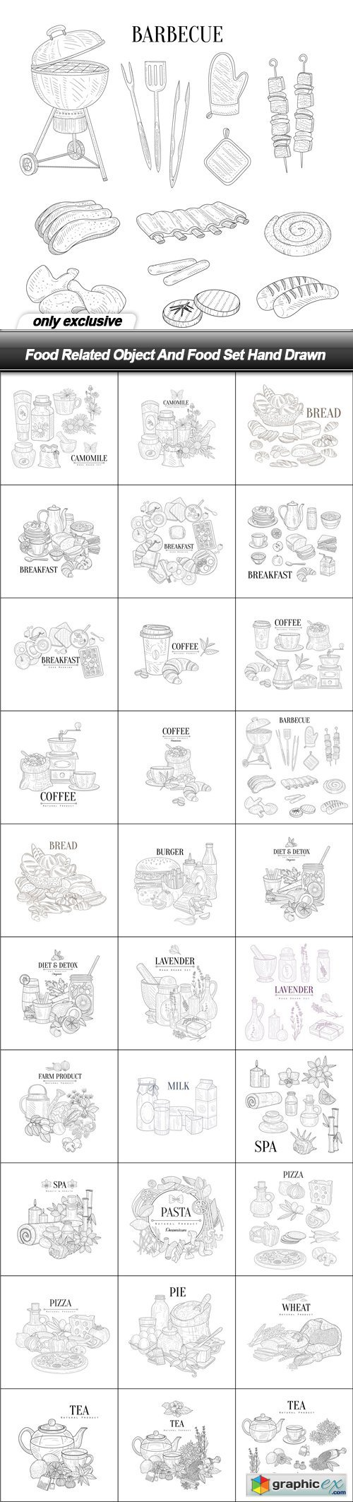 Food Related Object And Food Set Hand Drawn - 30 EPS