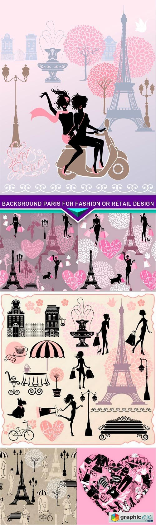 Background Paris for fashion or retail design 6X EPS