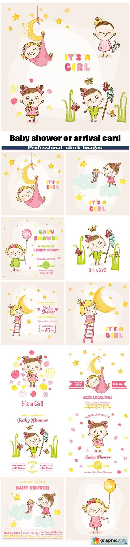 Baby shower or arrival card - Baby girl
